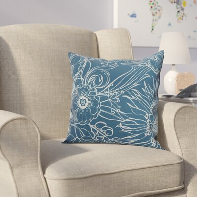 Derick Floral Print Throw Pillow Color: Teal, Size: 16 x 16