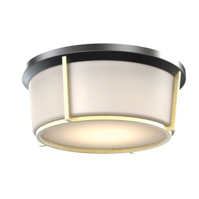 St. Marks Place 1-Light LED Flush Mount Fixture Finish: Black/Soft Gold