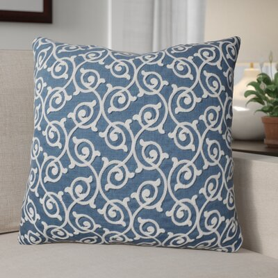 Theophania Embroidered Throw Pillow Color: Baltic Blue