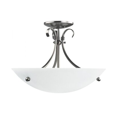 Carlucci 3-Light Semi Flush Mount Fixture Color: Satin Nickel