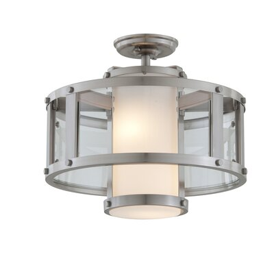 Mattox 2-Light Semi Flush Mount Fixture Finish: Satin Nickel