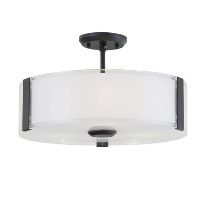 Mauch 3-Light Semi Flush Mount Size: 8.25 H x 14 W x 14 D, Fixture Finish: Graphite