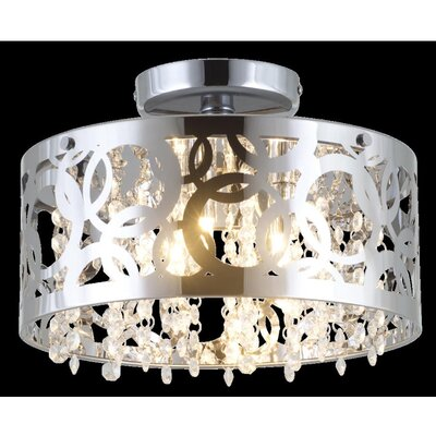 Millner 3-Light Semi Flush Mount Size: 9.75 H x 15 W x 15 D, Fixture Finish: Chrome