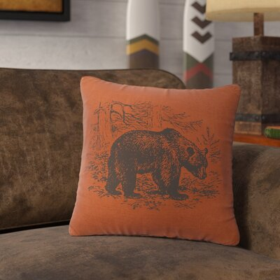 Nailwell Bear Scene Throw Pillow Color: Paprika