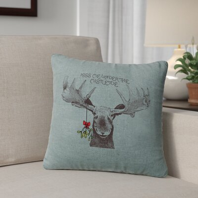 Albury Mistletoe Moose Throw Pillow Color: Ocean