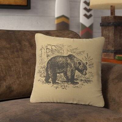 Nailwell Bear Scene Throw Pillow Color: Straw