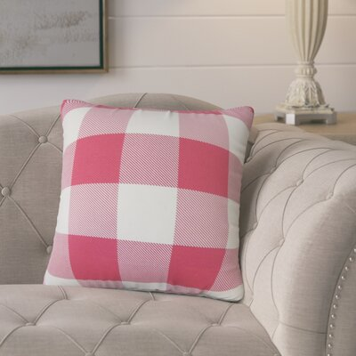 Ronzi Plaid Down Filled 100% Cotton Throw Pillow Size: 22 x 22, Color: Pink