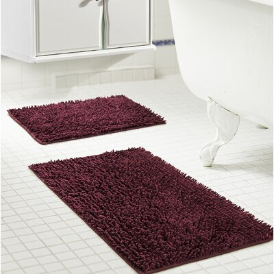Deavers 2 Piece Bath Rug Set Color: Burgundy