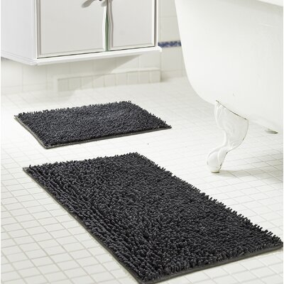 Deavers 2 Piece Bath Rug Set Color: Charcoal