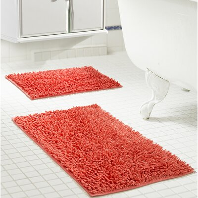 Deavers 2 Piece Bath Rug Set Color: Coral