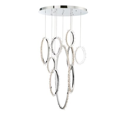 Sturm 9-Light LED Crystal Cluster Pendant