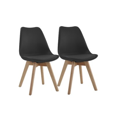 Downey Wooden Upholstered Dining Chair Upholstery Color: Black