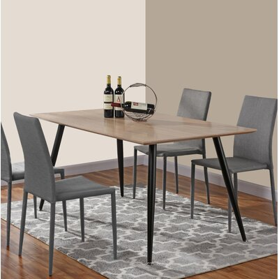 Dining Table Table Top Color: Oak, Base Color: Black
