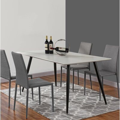 Dining Table Table Top Color: White, Base Color: Black