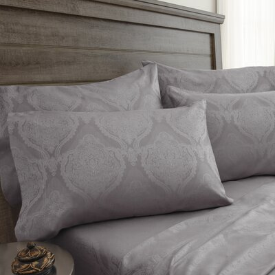 Bevins Jacquard Damask 800 Thread Count 6 Piece Sheet Set Color: Silver, Size: Full