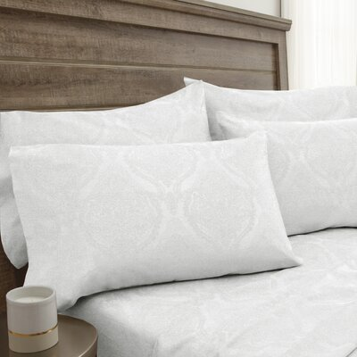 Bevins Jacquard Damask 800 Thread Count 6 Piece Sheet Set Color: White, Size: Full