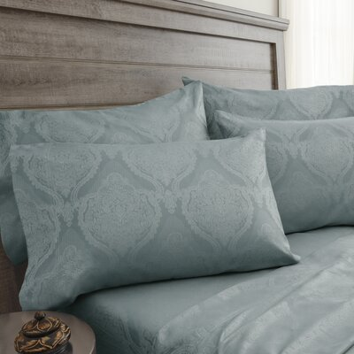 Bevins Jacquard Damask 800 Thread Count 6 Piece Sheet Set Color: Blue Haze, Size: Full