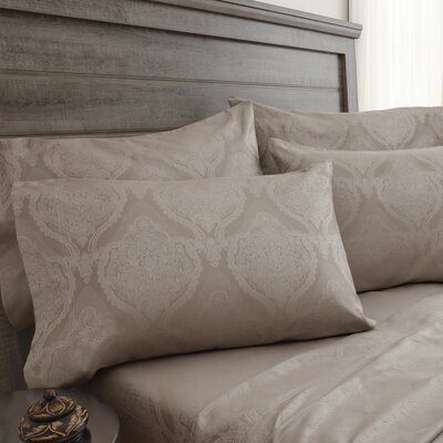 Bevins Jacquard Damask 800 Thread Count 6 Piece Sheet Set Color: Oxford Tan, Size: Queen