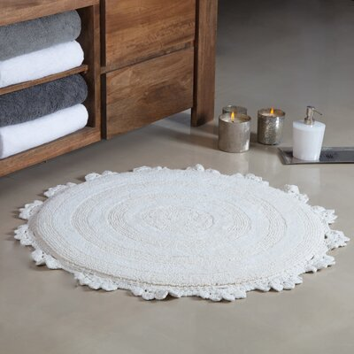Gottschalk Crochet Border Tufted Bath Rug Color: Ivory