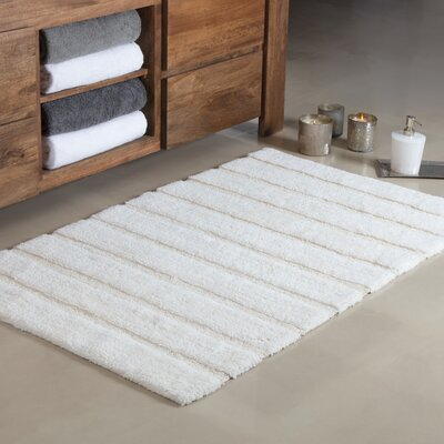 Douberly Handloom Stripe Bath Rug Color: Ivory, Size: Large