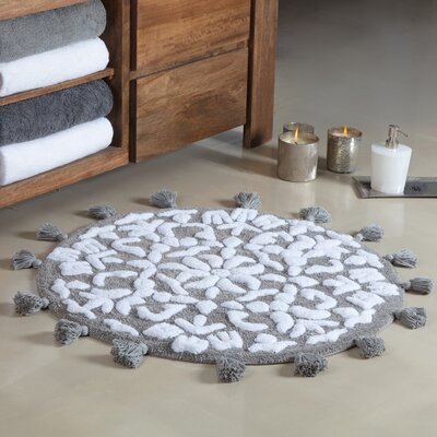 Radle Round Tufted With Tassels Bath Rug Color: Gray/White