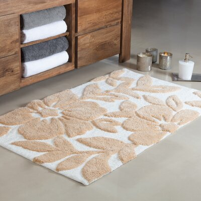 Flo Tufted Leaf Bath Rug Color: Ivory/Beige, Size: Small