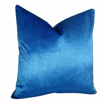 Fray Metallic Azure Designer Pillow Size: Double Sided 18 x 18, Fill Material: Insert Option: 95/5 Feather/Down