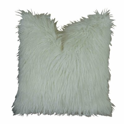 Jowett Curly Mongolian Faux Fur Throw Pillow Size: Double Sided 24 x 24, Fill Material: Insert Option: H-allrgnc Polyfill