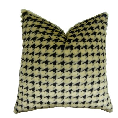 Junkins Houndstooth Faux Fur Throw Pillow