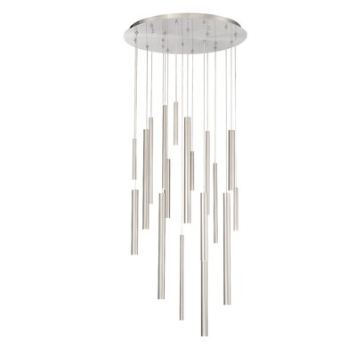 Lacie Tubes 18-Light LED Cluster Pendant Shade Color: Nickel