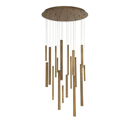 Lacie Tubes 18-Light LED Cluster Pendant Shade Color: Brass