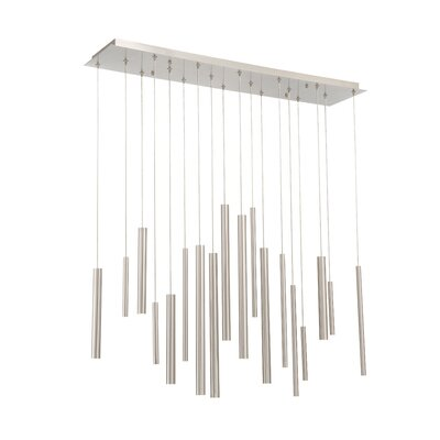 Lacie Tubes 18-Light LED Kitchen Island Pendant Shade Color: Nickel