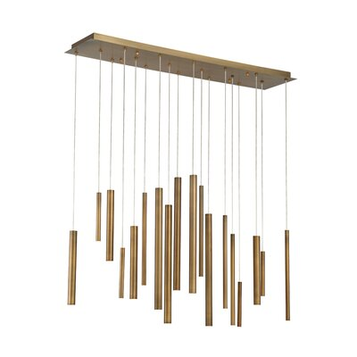 Lacie Tubes 18-Light LED Kitchen Island Pendant Shade Color: Brass