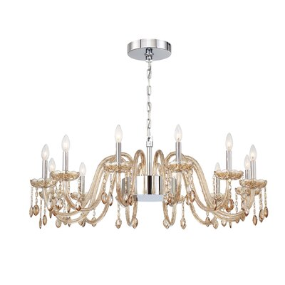 Spenser 16-Light Candle-Style Chandelier Color: Cognac