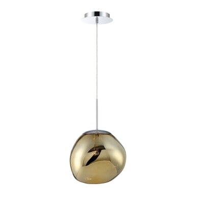 Mederos Pearlized Orb 1-Light Geometric Pendant Shade Color: Gold