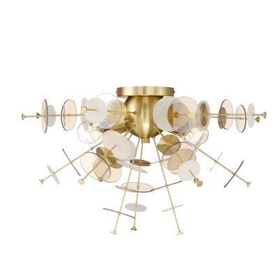 Suai Retro 4-Light Flush Mount Fixture Finish: Brass