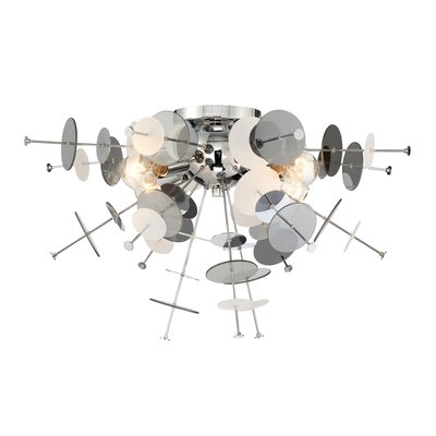 Suai Retro 4-Light Flush Mount Fixture Finish: Chrome