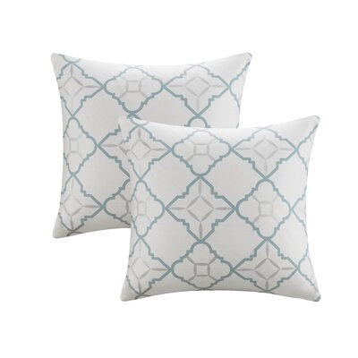 Agathe Printed Cotton Throw Pillow Color: Aqua