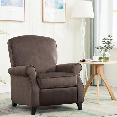 Halsted Roll Arms High Leg Manual Recliner Upholstery: Light Brown