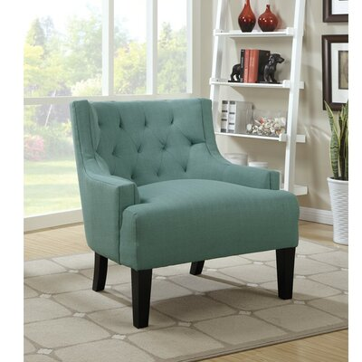 Holmquist Wood and Polyfiber Armchair Upholstery: Blue