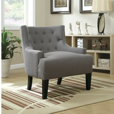 Holmquist Wood and Polyfiber Armchair Upholstery: Gray
