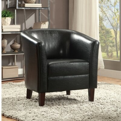 Charest Wood and Polyurethane Club Chair Upholstery: Black