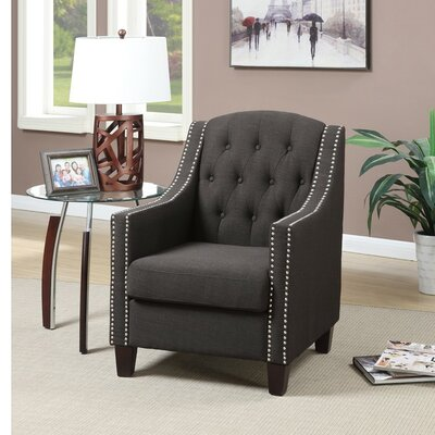 Sharon Wood and Polyfiber Armchair with Nailhead Trim Upholstery: Gray