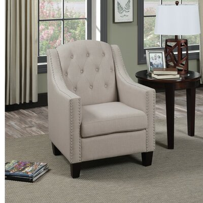 Sharon Wood and Polyfiber Armchair with Nailhead Trim Upholstery: White