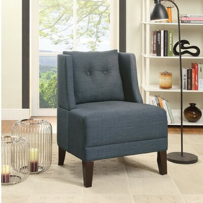 Holsey Wood and Dorris Fabric Slipper Chair Upholstery: Blue