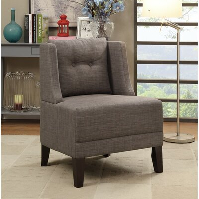 Holsey Wood and Dorris Fabric Slipper Chair Upholstery: Brown