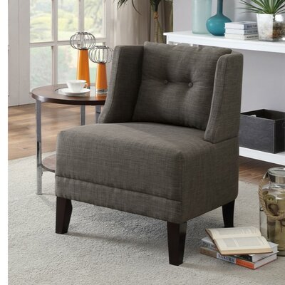 Holsey Wood and Dorris Fabric Slipper Chair Upholstery: Gray