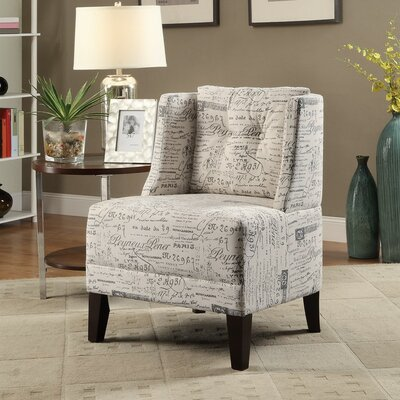 Holsey Wood and Dorris Fabric Slipper Chair Upholstery: White