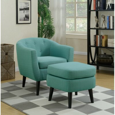 Faria Polyfiber Armchair and Cocktail Ottoman Upholstery: Blue