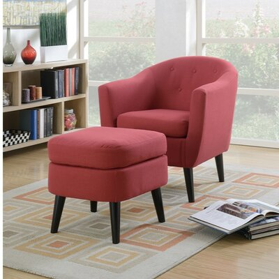 Faria Polyfiber Armchair and Cocktail Ottoman Upholstery: Red
